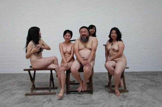 """Dissident Chinese artist Ai Weiwei (C) and four women pose naked, in this undated handout released on November 21, 2011. Chinese Internet users' latest show of solidarity with Ai, whose 81-day secret detention earlier this year sparked an international outcry, has taken the unlikeliest form of protest: mass nudity. By the afternoon of November 21, 2011, seventy people had posted nude photos of themselves on a website called """"Ai Wei Fans' Nudity -- Listen, Chinese Government: Nudity is not Pornography"""" -- a rare form of protest in a country where public nudity is still taboo. They uploaded the photos after Beijing police questioned Ai's videographer Zhao Zhao on November 17, 2011, for allegedly spreading pornography online by taking nude photographs of Ai and four women. REUTERS/Zhao Zhao/Handout (CHINA - Tags: POLITICS SOCIETY CIVIL UNREST) QUALITY FROM SOURCE. FOR EDITORIAL USE ONLY. NOT FOR SALE FOR MARKETING OR ADVERTISING CAMPAIGNS. THIS IMAGE HAS BEEN SUPPLIED BY A THIRD PARTY. IT IS DISTRIBUTED, EXACTLY AS RECEIVED BY REUTERS, AS A SERVICE TO CLIENTS. CHINA OUT. NO COMMERCIAL OR EDITORIAL SALES IN CHINA. TEMPLATE OUT"""