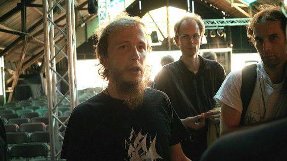 Gottfrid Svartholm op een hackersconferentie in 2009.