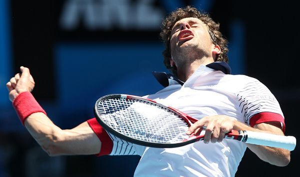 Robin Haase of the Netherlands reacts in his third round match against Andy Roddick of the U.S. at the Australian Open tennis championships in Melbourne, Australia, Friday, Jan. 21, 2011. (AP Photo/Rob Griffith)