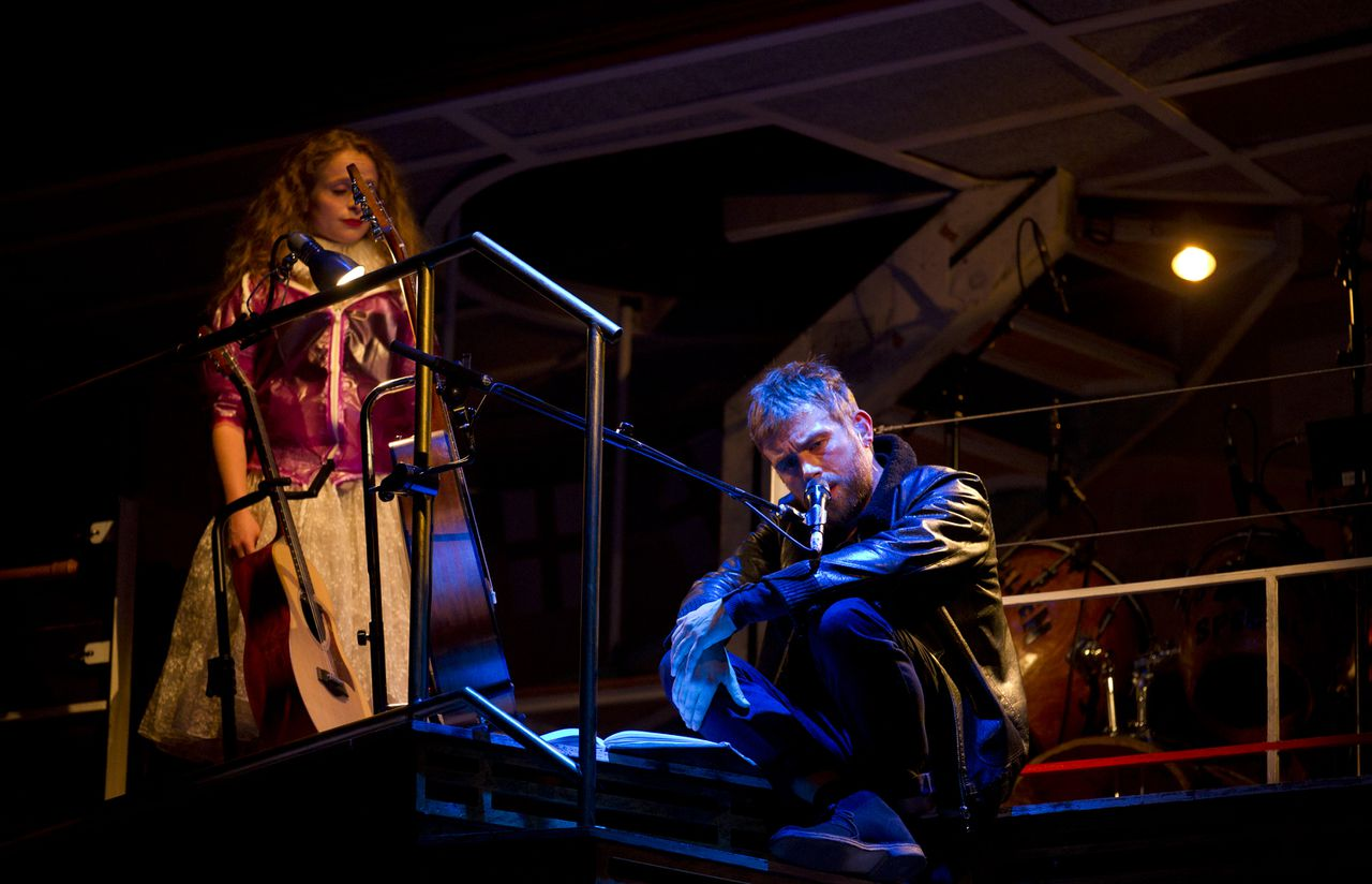 Blur and Gorillaz singer Damon Albarn, right, performs alongside Victoria Cooper during his latest opera, Dr Dee, at the Palace Theatre during the Manchester International Festival, Manchester, England, Thursday, June 30, 2011. The musical work is based on Elizabeth I's medical and scientific adviser, Doctor John Dee a 16th Century alchemist, astrologer and spy. (AP Photo/Jon Super).