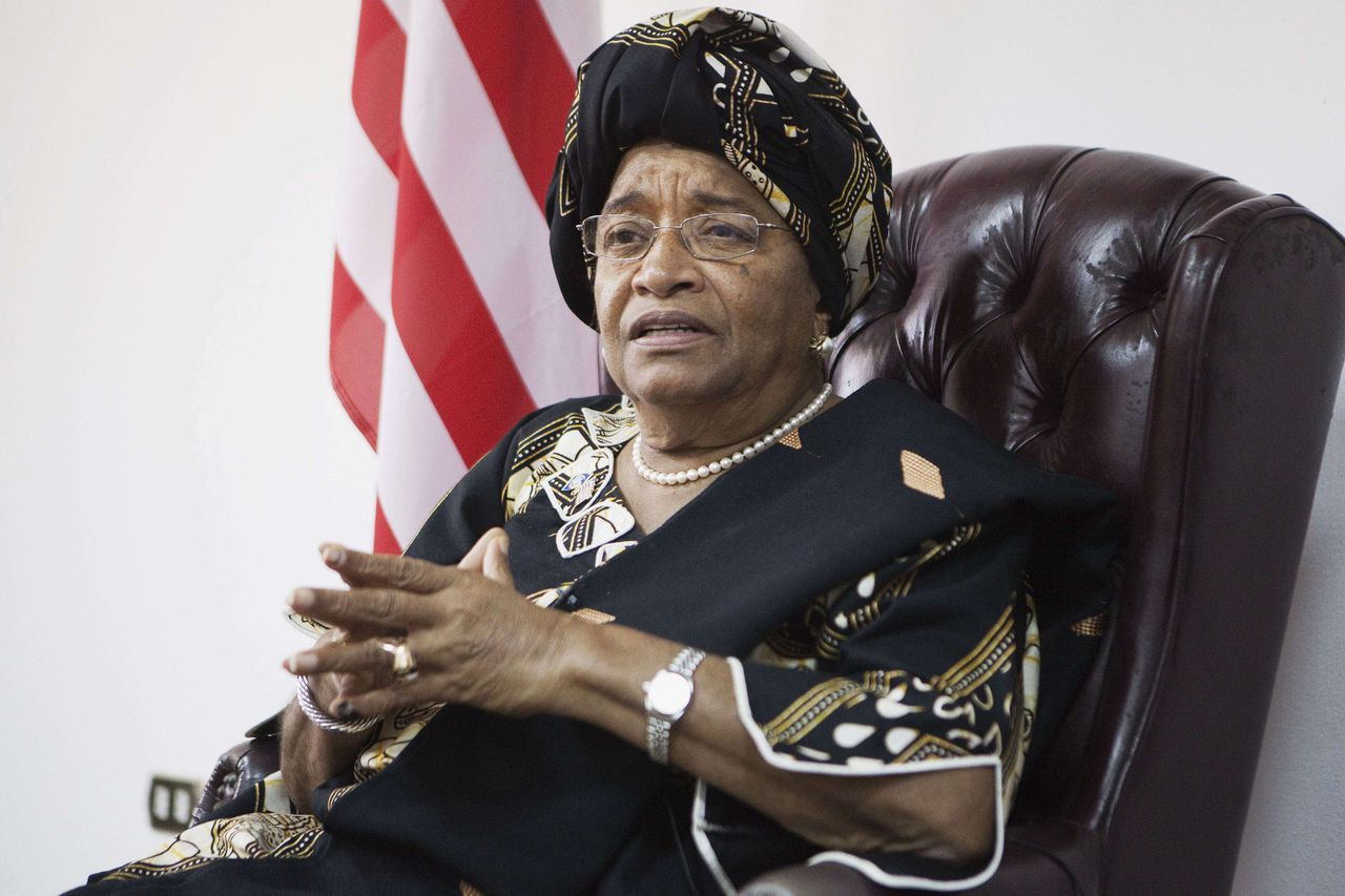 Liberia's President and 2011 Nobel Peace Prize winner Ellen Johnson-Sirleaf listens to a question during an interview with Reuters at her office in Monrovia November 11, 2011. Johnson-Sirleaf promised to involve opponents in her second term after winning a landslide victory in an election boycotted by her main rival over fraud allegations. REUTERS/Finbarr O'Reilly (LIBERIA - Tags: POLITICS ELECTIONS)