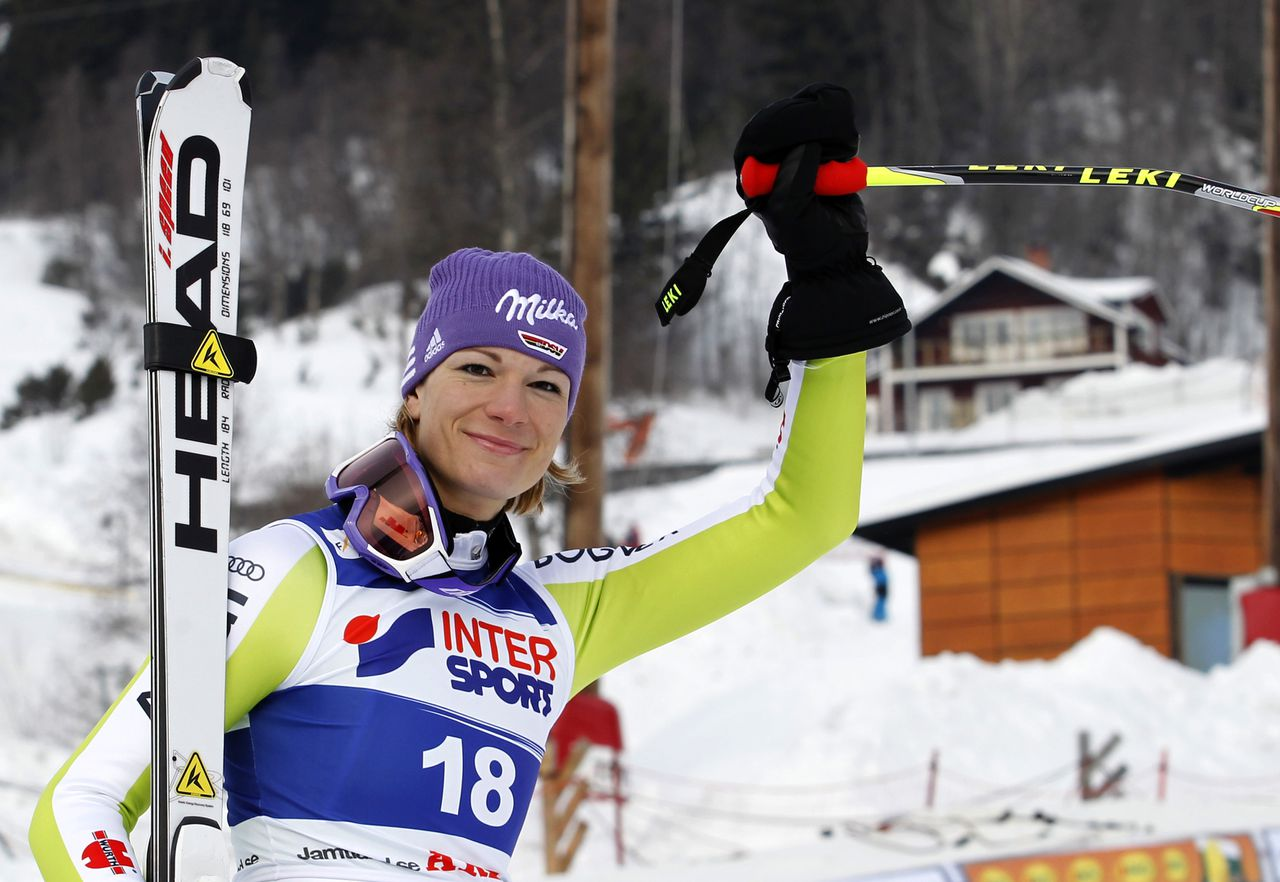 Germany's Maria Riesch celebrates at the finish area after placing third in an alpine ski, women's World Cup downhill race, in Are, Sweden, Saturday, Feb. 26, 2011. (AP Photo/Marco Trovati)