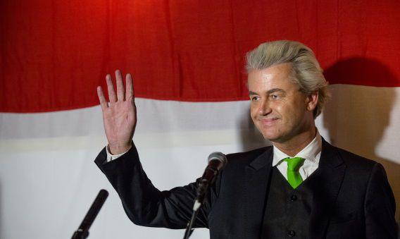 Geert Wilders vorige week tijdens de verkiezingsavond in Cafe Nelson.