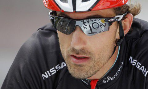 Radioshack-Nissan rider Fabian Cancellara of Switzerland cycles during a training before the individual time trial in the ninth stage of the 99th Tour de France cycling race between Arc et Senans and Besancon, July 9, 2012. REUTERS/Stephane Mahe (FRANCE - Tags: SPORT CYCLING HEADSHOT)