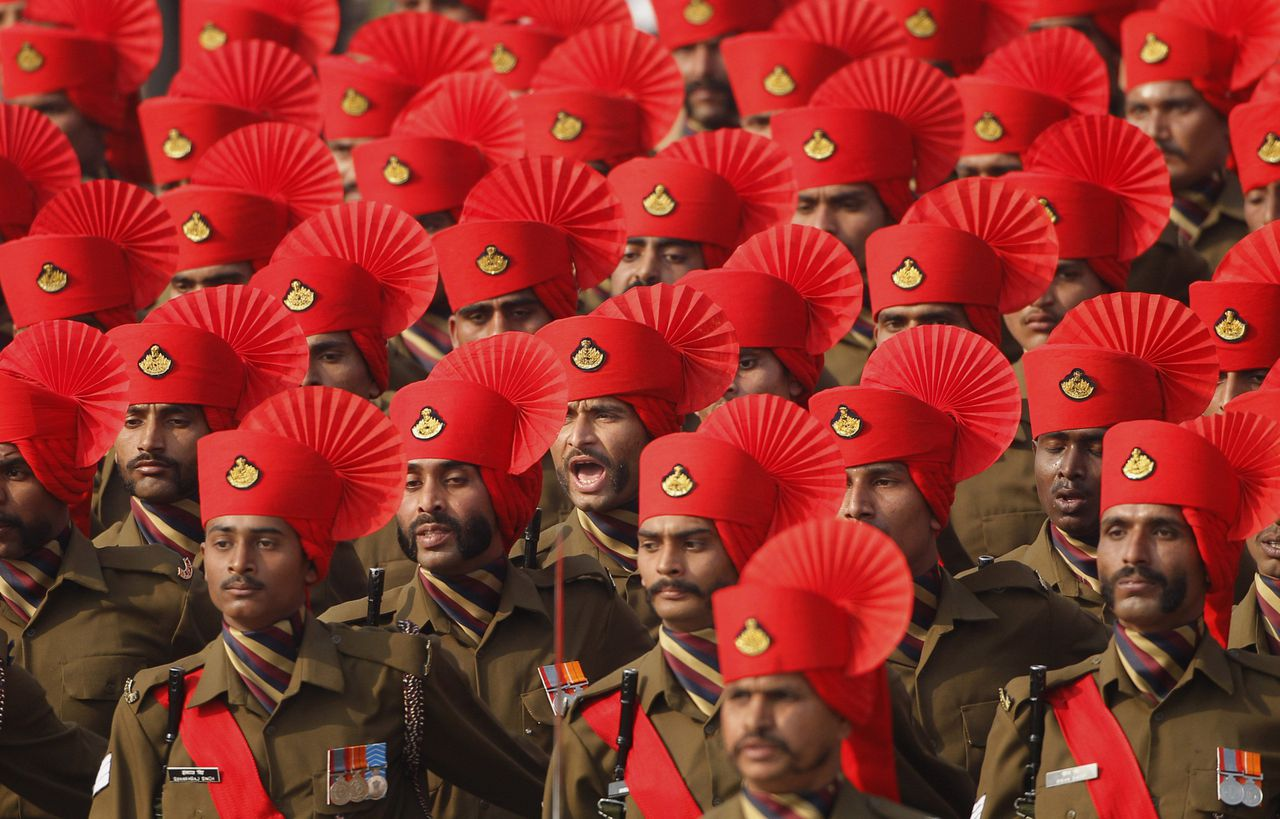 An Indian army contingent marches during the Republic Day parade in New Delhi, India, Wednesday, Jan. 26, 2011. The day marks the anniversary of India's adoption of a democratic constitution. (AP Photo/Gurinder Osan)