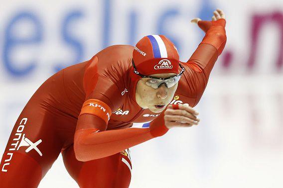 Margot Boer vanmiddag in actie op de eerste 500 meter tijdens het Olympisch Kwalificatietoernooi in Thialf.