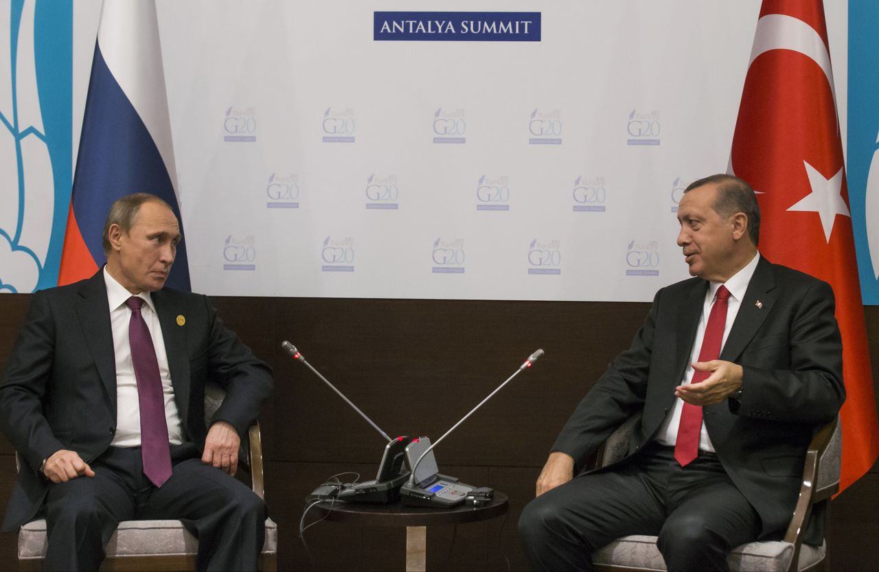 Poetin en Erdogan in november 2015 voor de G20-top in Antalya.