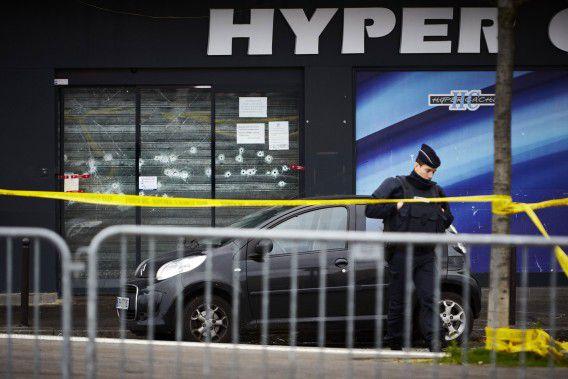 Supermarkt Hyper Cacher in Parijs na de aanslag.