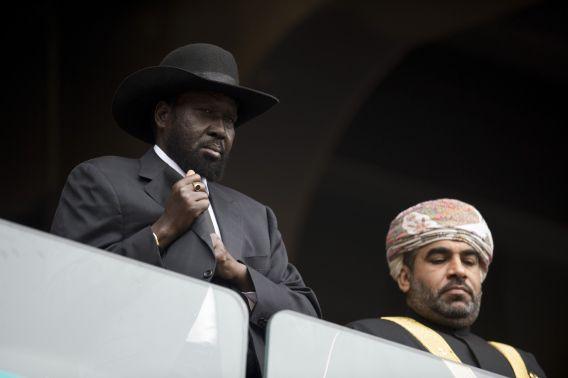 President Salva Kiir van Zuid-Soedan tijdens de herdenking voor Nelson Mandela, vorige week in Zuid-Afrika.
