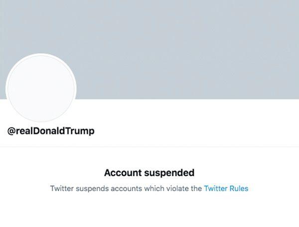 Een screenshot van het permanent geblokeerde account van president Donald Trump op vrijdagavond.