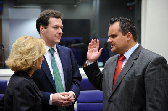 Austrian Federal Finance Minister Maria Fekter (L) and British Chancellor of the Exchequer George Osborne (C) listen to Dutch Finance Minister Jan Kees de Jager prior to the start of eurozone finance ministers meeting at EU headquarters in Luxembourg. Europe promised on June 20 to unblock existing bailout loans for Greece and draw up a second financial rescue as long as its parliament approves fierce new budget cuts and a raft of asset sales. AFP PHOTO / GEORGES GOBET