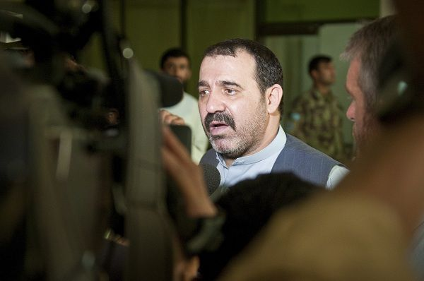 , the head of Kandahar Provincial Council, speaks with international media following a shura held in Kandahar, in this June 14, 2010 file photo. Ahmad Wali Karzai, a brother of Afghan President Hamid Karzai and one of the most powerful men in southern Afghanistan, was killed on July 12, 2011, an official and a family member confirmed. REUTERS/U.S. Navy photo by Petty Officer 1st Class Mark O'Donald/Handout (AFGHANISTAN - Tags: CIVIL UNREST POLITICS OBITUARY) FOR EDITORIAL USE ONLY. NOT FOR SALE FOR MARKETING OR ADVERTISING CAMPAIGNS. THIS IMAGE HAS BEEN SUPPLIED BY A THIRD PARTY. IT IS DISTRIBUTED, EXACTLY AS RECEIVED BY REUTERS, AS A SERVICE TO CLIENTS