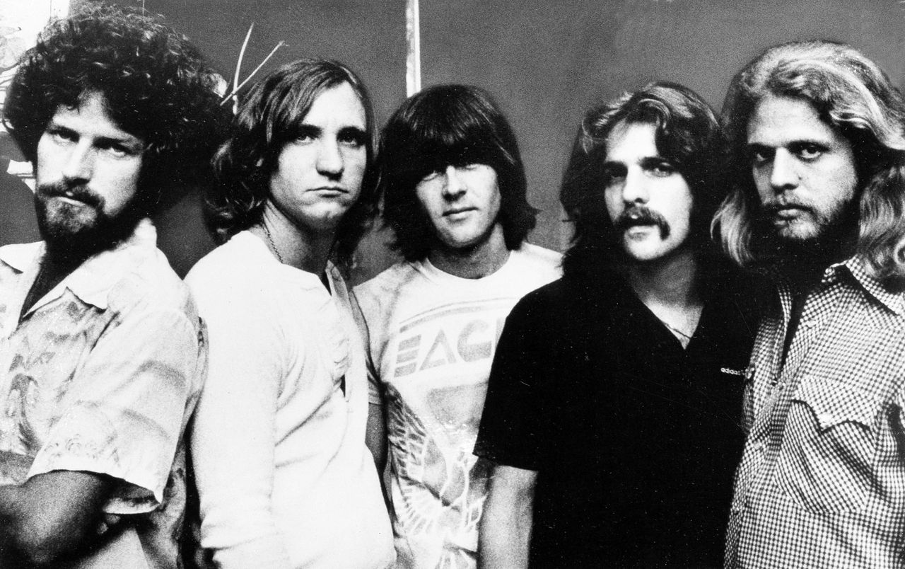 ** HOLD FOR RELEASE UNTIL 12:01 EDT WEDNESDAY AUG. 12, 2009 ** This Nov. 6, 1977, file photo shows the Eagles, from left, drummer Don Henly, guitarist Joe Walsh, bass Randy Meisner, and guitarists Glenn Frey and Don Felder, A new poll by the Pew Research Center examining the generation gap four decades after Woodstock and the rebel yell of 1960s youth finds that rock and roll rules across generations and the Beatles are high on the list of every age group's favorite bands. The Eagles topped out in the 30-49 age group, Michael Jackson was the No. 1 pick in the under 30 group, and the Beatles won out in 50-64 age group. For those 65 and older, Frank Sinatra can't be beat. (AP Photo, File)