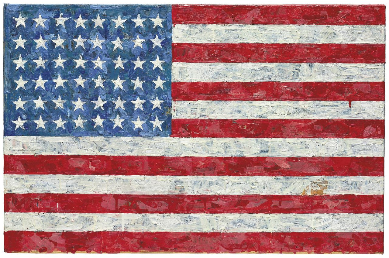 "FILE - This undated file photo provided by Christie's auction house shows Jasper Johns' ""Flag,"" a pop art rendition of the American flag created in the 1960s that author Michael Crichton bought from the artist in 1973. The painting is one of many in Crichton's collection that will go on the auction block during Christie's Post-War and Contemporary Art sale in New York on May 11-12, 2010. ""Flag"" has a pre-sale estimate of $10 million to $15 million, but art dealer Richard Feigen said he believed ""it'll go through the roof,"" fetching upwards of $30 million. (AP Photo/Christie's, File)"