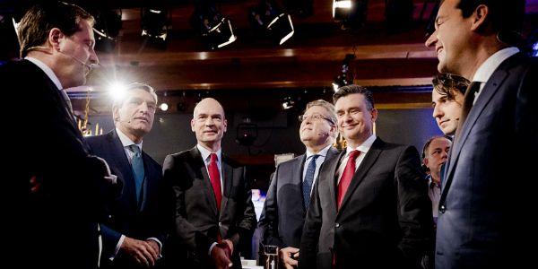 Een aantal van de deelnemers aan het Noordelijk Lijsttrekkersdebat, dat woensdag werd gehouden in Groningen.