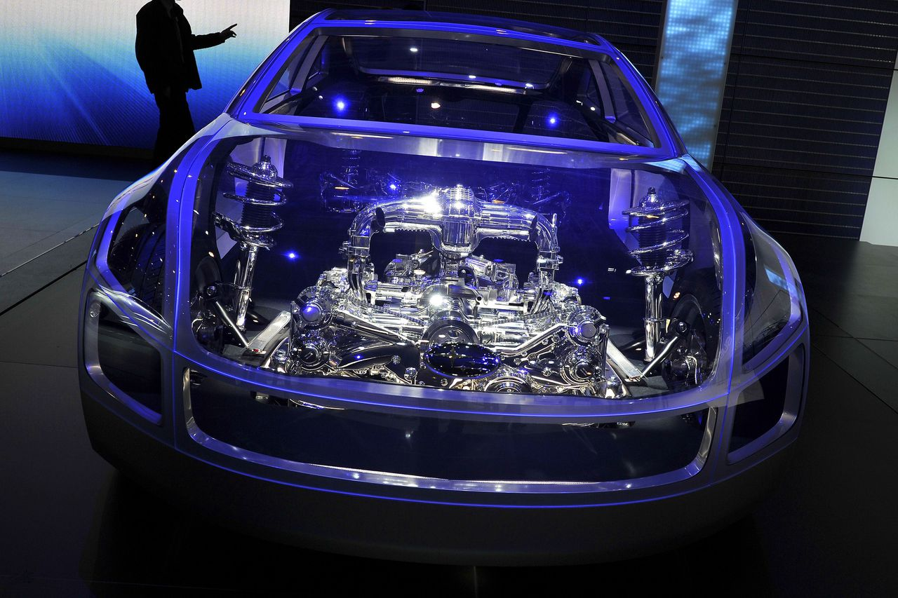 A boxer car architecture is seen at the booth of Japanese car maker Subaru on March 1, 2011 at Geneva motor show in Geneva. Car makers display 170 new models as the automobile industry preview the 81st Geneva motor show. AFP PHOTO / FABRICE COFFRINI