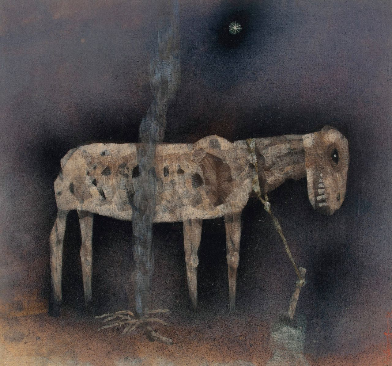 The Animal (tempera op doek, 1972) van Ganesh Pyne (1937-2013). Richtprijs: 100.000-150.000 dollar.