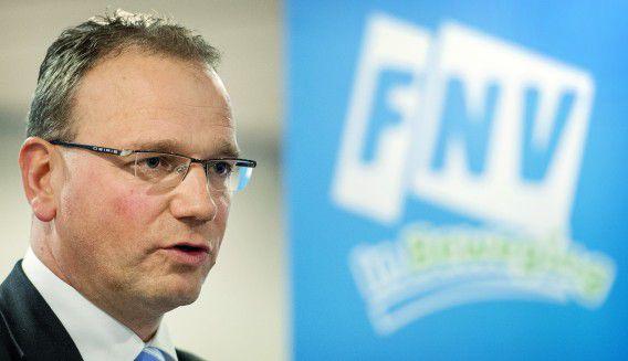 Archieffoto FNV-voorzitter Ton Heerts. Voor Heerts is de instemming van het ledenparlement met het sociaal akkoord een opsteker.