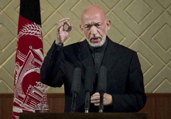 De Afghaanse president Hamid Karzai op de universiteit van Kabul, ter gelegenheid van de viering van het tachtigjarige bestaan van de instelling.