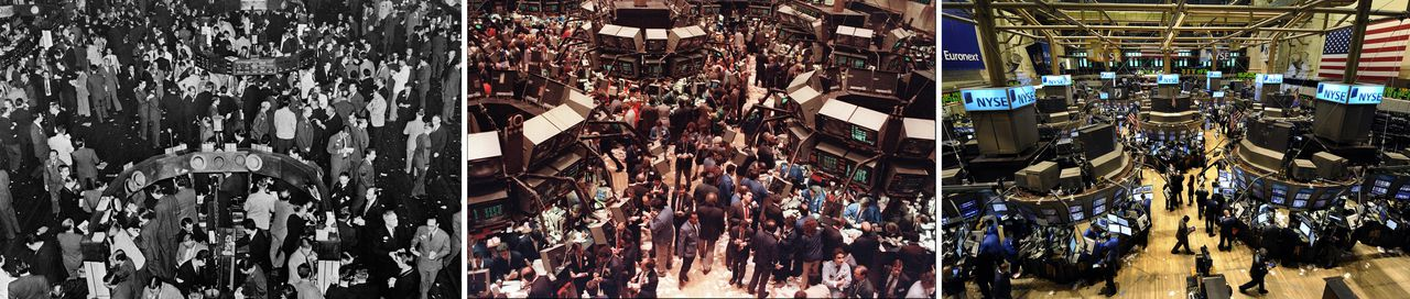 This three-picture sequence shows images over the years from the New York Stock Exchange (NYSE) in New Tork City. At left traders work the floor of the NYSE in an undated photo; traders on October 19, 1987 (CENTER) when the Dow Jones dropped over 500 points, then the largest decline in modern time; and on October, 6, 2008 (RIGHT) as Wall Street tumbled following the opening bell in the fallout from the credit crisis, triggering concerns about the economy, and the Dow falling below 10,000 for the first time in four years. Economists interviewed by AFP about the reforms likely to result from the current crisis spoke in the broad context of some of the great economic events in the 80 years since the crash of 1929. AFP PHOTO / FILES