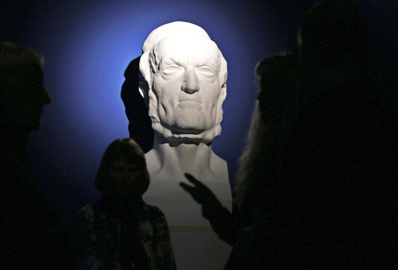 A bust of German composer Richard Wagner is on display at the new permanent exhibition in his hometown of Leipzig, Germany, Monday May 13 2013. The exhibition at Wagner's former school, Alte Nikolaischule, covers the time from Wagner's birth till his move to Magdeburg as a 21 year old. (AP Photo/dpa,Jan Woitas)