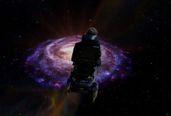 Wetenschapper Stephen Hawking op weg naar de oneindigheid.