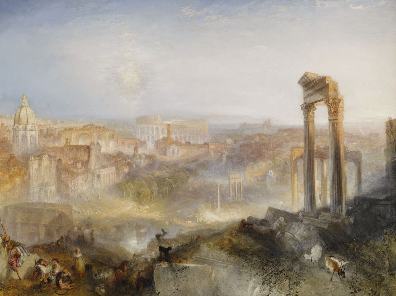 """'Gezicht op Rome' van William Turner uit 1839. Op 7 juli geveild voor 29,7 miljoen pond. """"Modern Rome - Campo Vaccino'' by J.M.W. Turner is shown in this undated photo released to the press on March 25, 2010. The painting, not seen at auction since 1878, is expected to fetch between 12 million and 18 million pounds at Sotheby's July 7 sale of Old Master and Early British Paintings in London. Source: Sotheby's via Bloomberg EDITOR'S NOTE: NO SALES. EDITORIAL USE ONLY."""