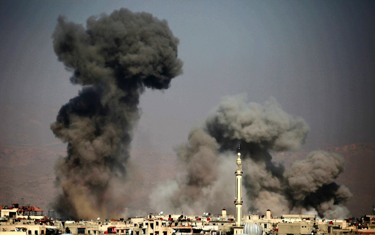 Oost-Ghouta na een luchtaanval.