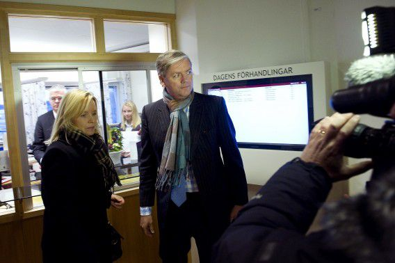 Saab's chief executive Victor Muller and car maker's lawyer Kristina Geers leave Vänersborgs district court that filed Saab cars for bankruptcy on December 19, 2011, bringing to an end two years of efforts to rescue the iconic brand. A statement on the court's website said three Saab companies had filed for bankruptcy: SAAB Automobile Aktiebolag, Saab Automobile Tools AB och Saab Automobile Powertrain. Muller had been due to appear before the court as judges had been scheduled to decide whether to lift or prolong the three-month bankruptcy protection Saab had been placed under while it was attempting to negotiate a deal to rescue the company. AFP PHOTO / SCANPIX / BJORN LARSSON ROSVALL SWEDEN OUT