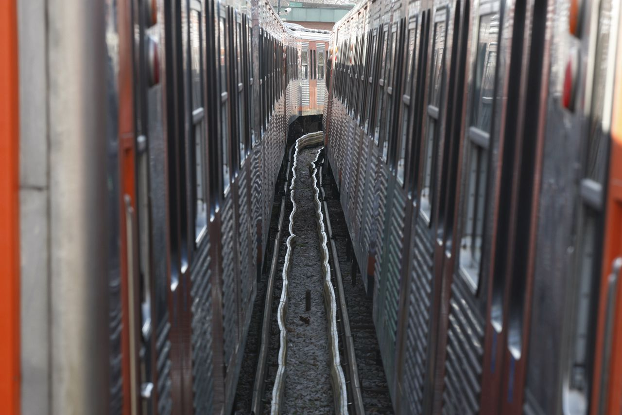 Urban rail's wagons are parked during a strike at the Kifissia station in northern Athens, Wednesday, Feb. 2, 2011. Athens transport unions of metro, urban rail, bus and trolley, are holding a new strike against planned public sector reforms, leading to jams on the Greek capital's streets as commuters travel to work by car or taxi. (AP Photo/Thanassis Stavrakis)