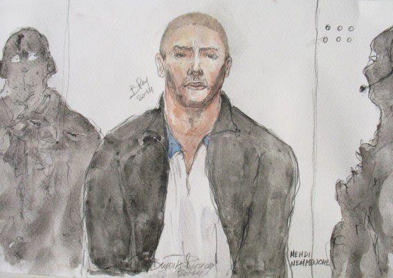 Een rechtbanktekening van Mehdi N., de 29-jarige verdachte.