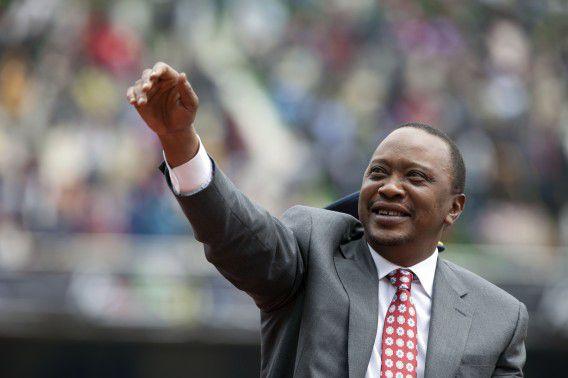President Kenyatta bij de viering van vijftig jaar Keniaanse onafhankelijkheid, vorige week.