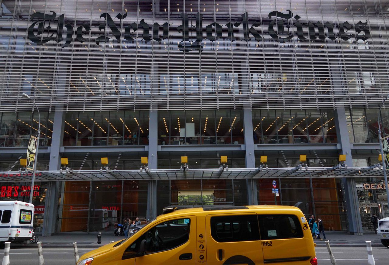 Het hoofdkantoor van The New York Times in Manhattan.
