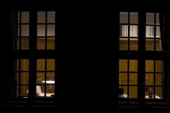 Premier Rutte en D66-leider Alexander Pechtold gisteravond in het Torentje.