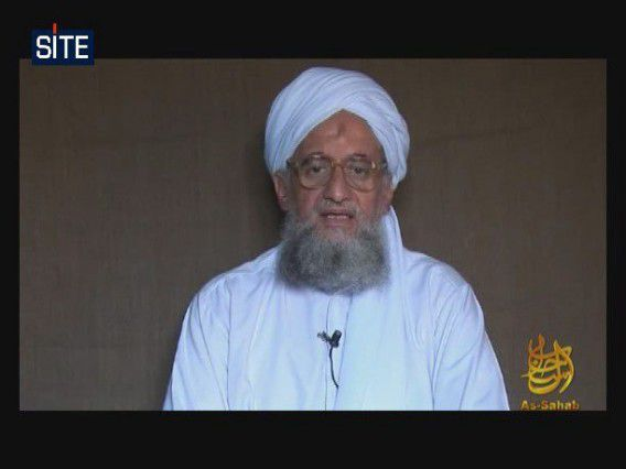 Een videostill waarop Ayman al-Zawahiri spreekt in 2009 om de ´verjaardag´ van 9-11 te vieren.