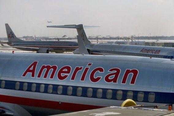 Een toestel van American Airlines op vliegveld O'Hare in Chicago.