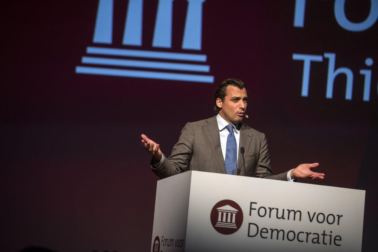 Thierry Baudet tijdens het congres van Forum voor Democratie in Amsterdam.