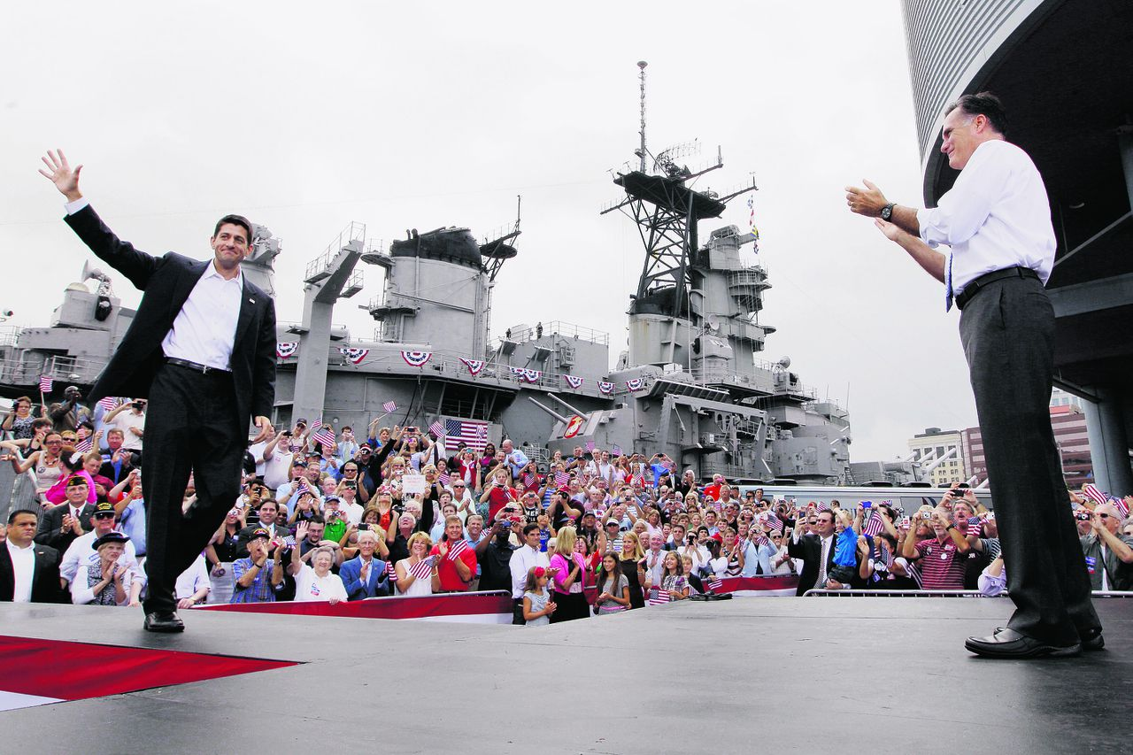 Republican presidential candidate, former Massachusetts Gov. Mitt Romney, right, introduces his vice presidentialial running mate, Wisconsin Rep. Paul Ryan, Saturday, Aug. 11, 2012 in Norfolk, Va. (AP Photo/Mary Altaffer)