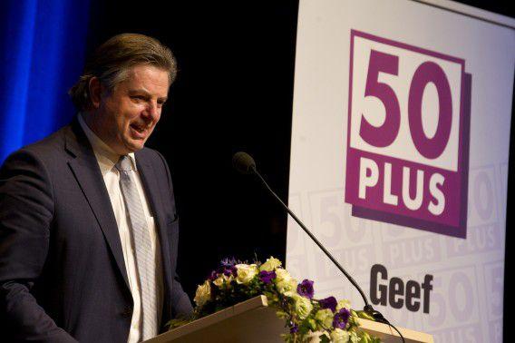 Toine Manders in Hilversum tijdens het ledencongres van 50-PLUS in maart.