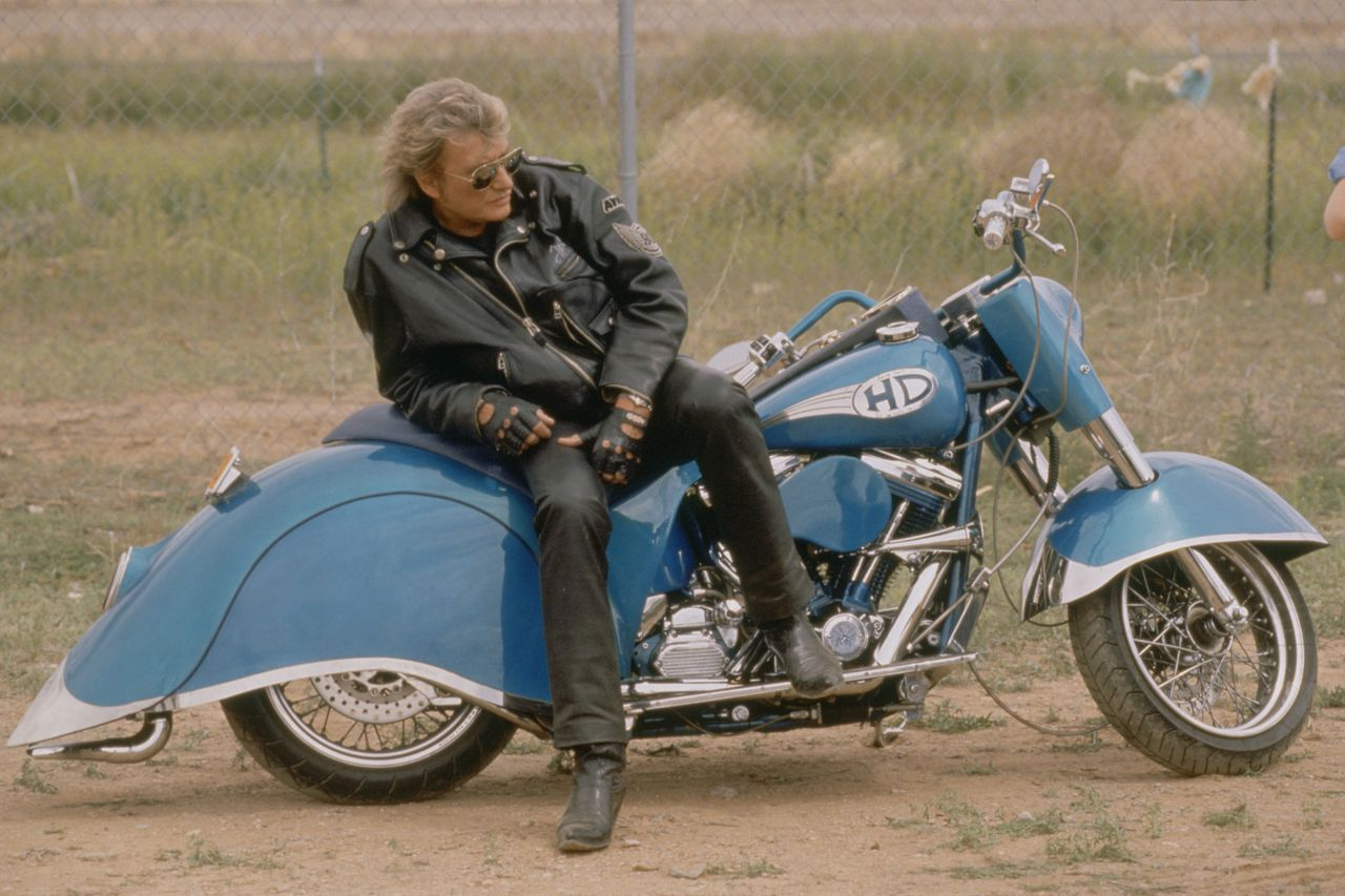 """April 1995, California, USA --- French Singer Johnny Hallyday on Set of Music Video for """"Can't Stop Wanting You"""" --- Image by © Tony Frank/Sygma/Corbis"""