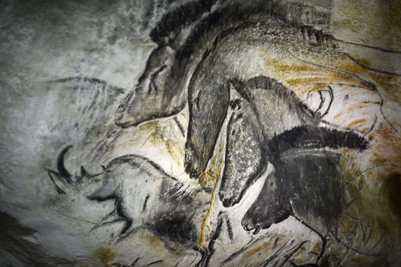 Picture taken on October 12, 2012 in Vallon-Pont-d'Arc of a prototype of painting of the facsimile of the Chauvet cave, which contains some of the earliest known cave paintings Arc, on the day of its launching. The access to Chauvet's cave is severely restricted owing to the experience with decorated caves such as Lascaux, where the admission of visitors on a large scale led to the growth of mold on the walls that damaged the art in places. AFP PHOTO / JEFF PACHOUD