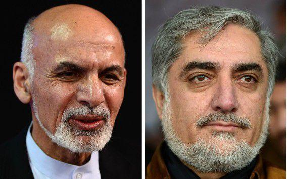 De overgebleven twee kandidaten volgens de voorlopige uitslag: links Ashraf Ghani, rechts 'koploper' Abdullah Abdullah.