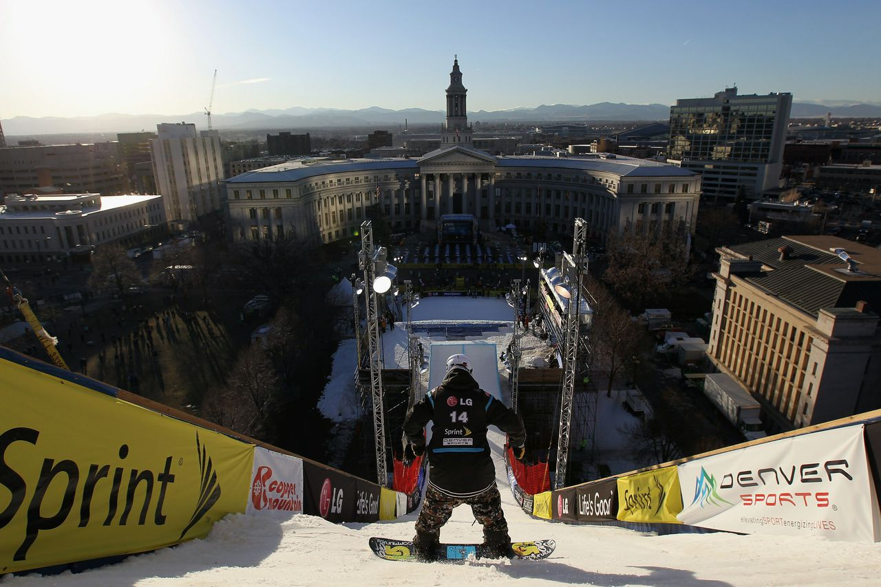 DENVER, CO - JANUARY 26: Broc Waring of the USA drops down the take off during practice for the LG FIS World Cup Snowboard Big Air Event in Civic Center Park on January 26, 2011 in Denver, Colorado. The ramp is a steel truss scaffolding 106 feet high, 300 feet long and 80 feet wide covered in manmade snow. Doug Pensinger/Getty Images/AFP == FOR NEWSPAPERS, INTERNET, TELCOS & TELEVISION USE ONLY ==