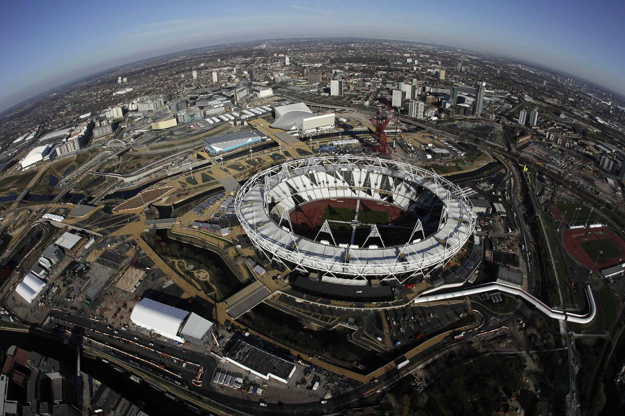An aerial view, taken with a fisheye lens, shows the Olympic Park in London, March 27, 2012. London will host this summer's Olympic Games. Picture taken March 27, 2012. REUTERS/Stefan Wermuth (BRITAIN - Tags: TRAVEL SPORT OLYMPICS CITYSPACE) ATTENTION EDITORS - PICTURE 8 OF 19 FOR PACKAGE 'LONDON 2012 FROM THE AIR'
