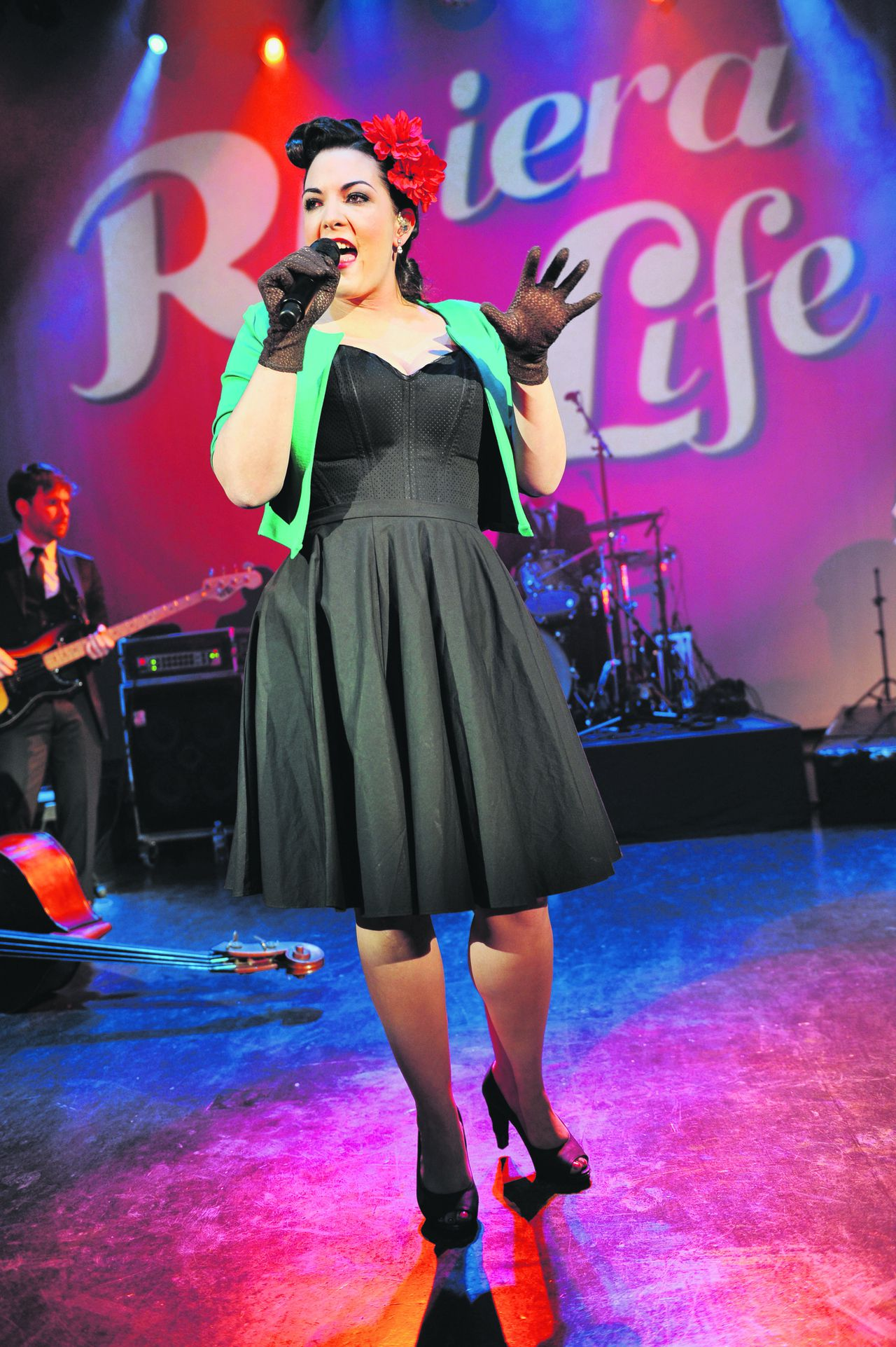 LONDON, UNITED KINGDOM - DECEMBER 13: Caro Emerald performs on stage at Shepherds Bush Empire on December 13, 2011 in London, United Kingdom. (Photo by C Brandon/Redferns)