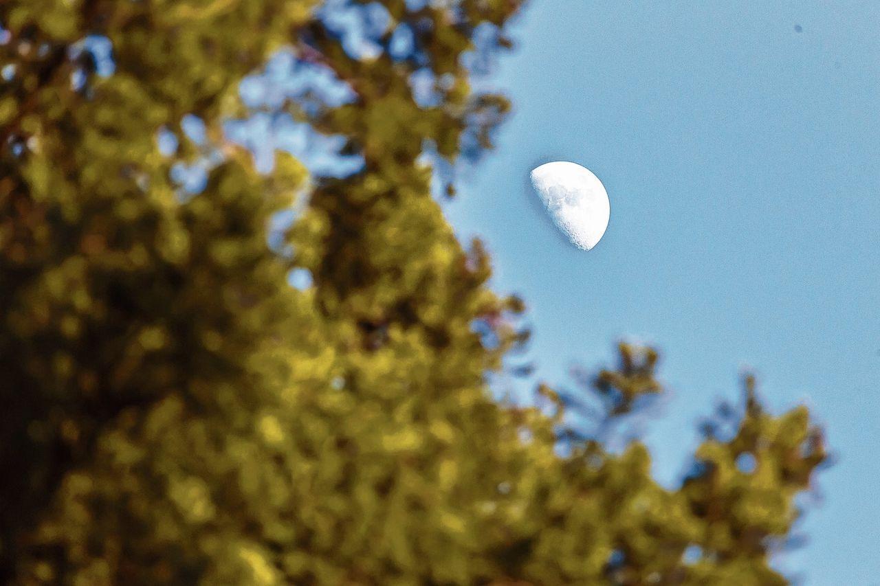 Het verlichte deel van de maan is niet recht op de zon gericht.