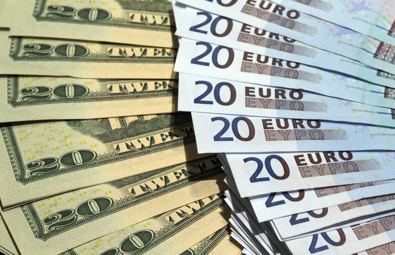 S. dollars and euros banknotes are seen in this illustration photo taken at a change bureau in Paris, October 28, 2014. The global economy will gradually improve over the next two years while the euro zone struggles with stagnation and an increased deflation risk, the OECD said on Tuesday November 25, 2014. The OECD has calculated that a gradual 10 percent depreciation of the euro and the yen against the dollar over the next two years could potentially raise growth in the euro area and Japan by around 0.2 percentage point next year and twice as much the following year. Picture taken October 28, 2014. REUTERS/Philippe Wojazer (FRANCE - Tags: BUSINESS)