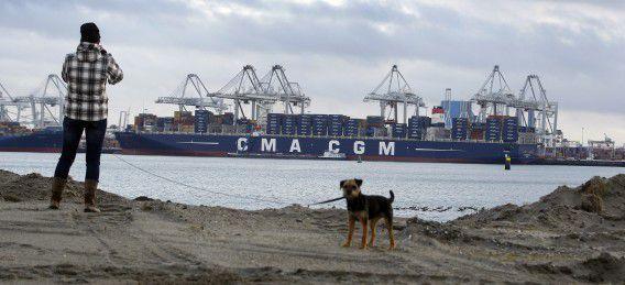 Containerschip bij de ECT Delta Terminal op de Maasvlakte. In de Rotterdamse haven is de goederenoverslag voor het eerst sinds jaren niet gegroeid.