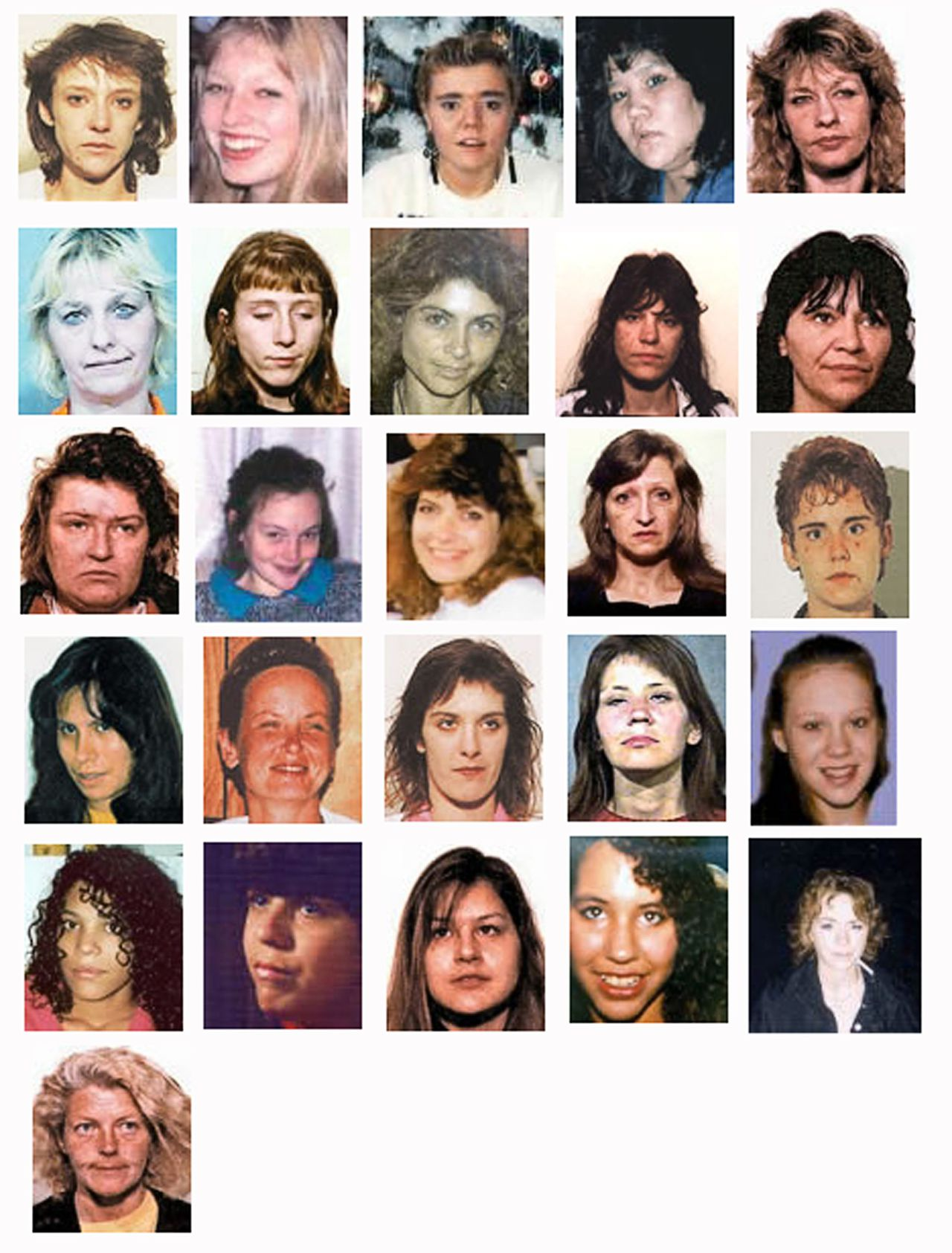 """De 26 vrouwen die vermoedelijk door Robert Pickton zijn vermoord. Boven vlnr: Andrea Borhaven, Andrea Joesbury, Angela Jardine, Brenda Wolfe, Cindy Feliks, Debra Jones, Diana Melnick, Diane Rock, Cara Ellis, Georgina Papin, Heather Chinnock, Heather Bottomley, Helen Hallmark, Inga Hall, Jacqueline McDonell, Jennifer Furminger, Kerry Koski, Marnie Frey, Mona Wilson, Patricia Johnson, Sarah de Vries, Sereena Abostway, Sherry Irving, Tanya Holyk, Tiffany Drew en Wendy Crawford. Foto Reuters The 26 women accused Canadian serial killer Robert """"Willie"""" Pickton is charged with the murders of are shown in these undated photos. The victims are (top row L-R) Andrea Borhaven, Andrea Joesbury, Angela Jardine, Brenda Wolfe, Cindy Feliks, (2nd row L-R) Debra Jones, Diana Melnick, Diane Rock, Cara Ellis, Georgina Papin, (third row L-R) Heather Chinnock, Heather Bottomley, Helen Hallmark, Inga Hall, Jacqueline McDonell, (fourth row L-R) Jennifer Furminger, Kerry Koski, Marnie Frey, Mona Wilson, Patricia Johnson, Fifth Row L - R - Sarah de Vries, Sereena Abostway, Sherry Irving, Tanya Holyk, Tiffany Drew and Wendy Crawford. Arguments in the trial for six of the 26 murder charges filed against Pickton will start January 22, two weeks later than scheduled, and nearly five years after he was arrested in a case that is feared linked to the disappearance more than 60 women. REUTERS/Handout (CANADA)"""