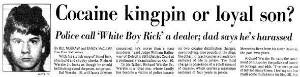 Een krantenbericht van 8 november 1987, een paar maanden na Ricks arrestatie.